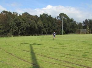 Peter did make 13 x 400 metres on the grass in his toe-shoes.