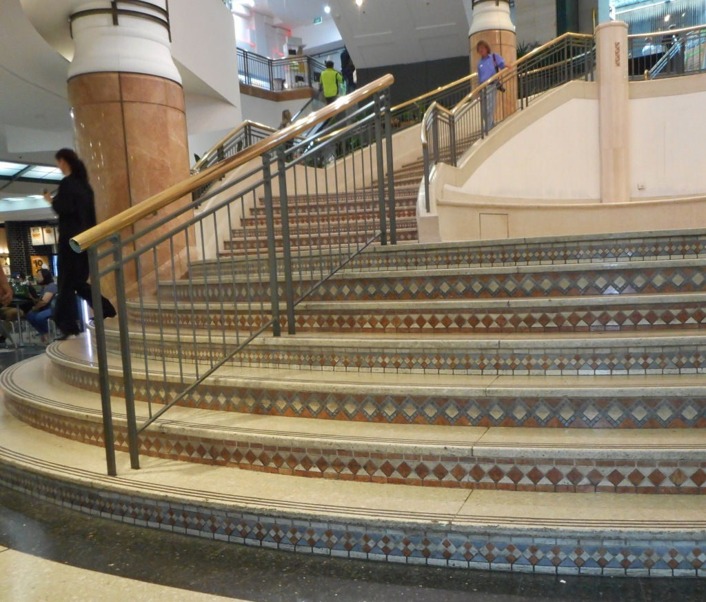 These steps lead down into the food-hall where we were sitting.