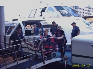 Gaby arrives in her wheelchair at Circular Quay.