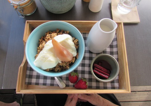 I chose baked granola for breakfast, I liked the rhubarb and the cream that came with it.