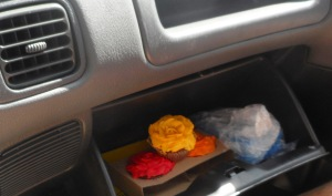 Matthew reckons the glove compartment is a good spot for taking some cakes home.