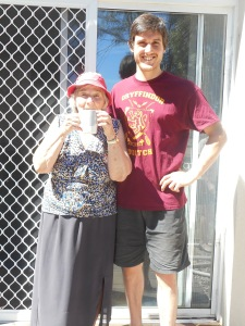 Tristan with Grandmother Uta.