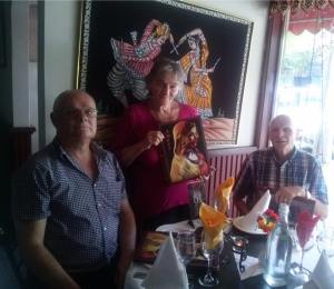 Martin, Uta and Peter at an Indian Restaurant on New Year's Eve 2015,