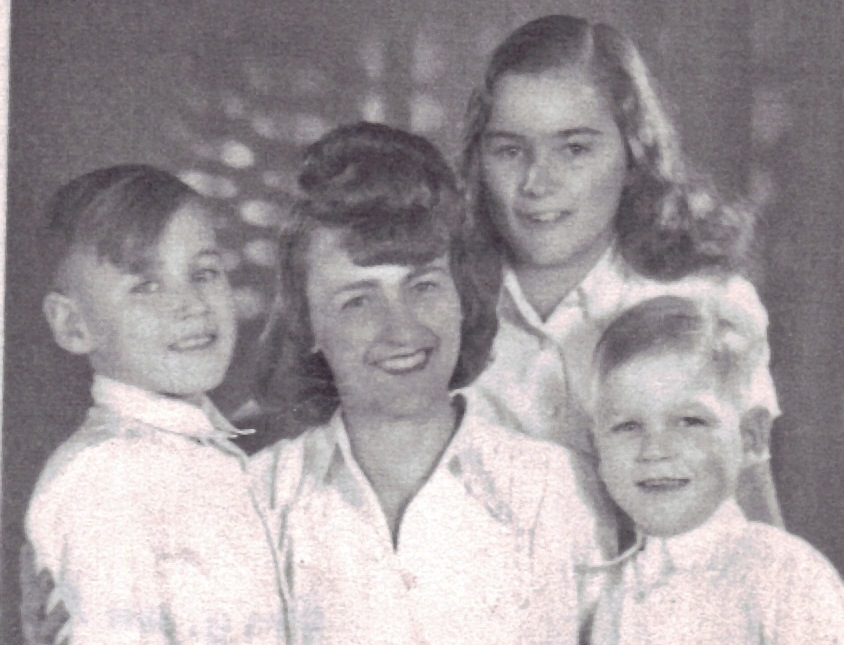 Mum with her three children in October 1948