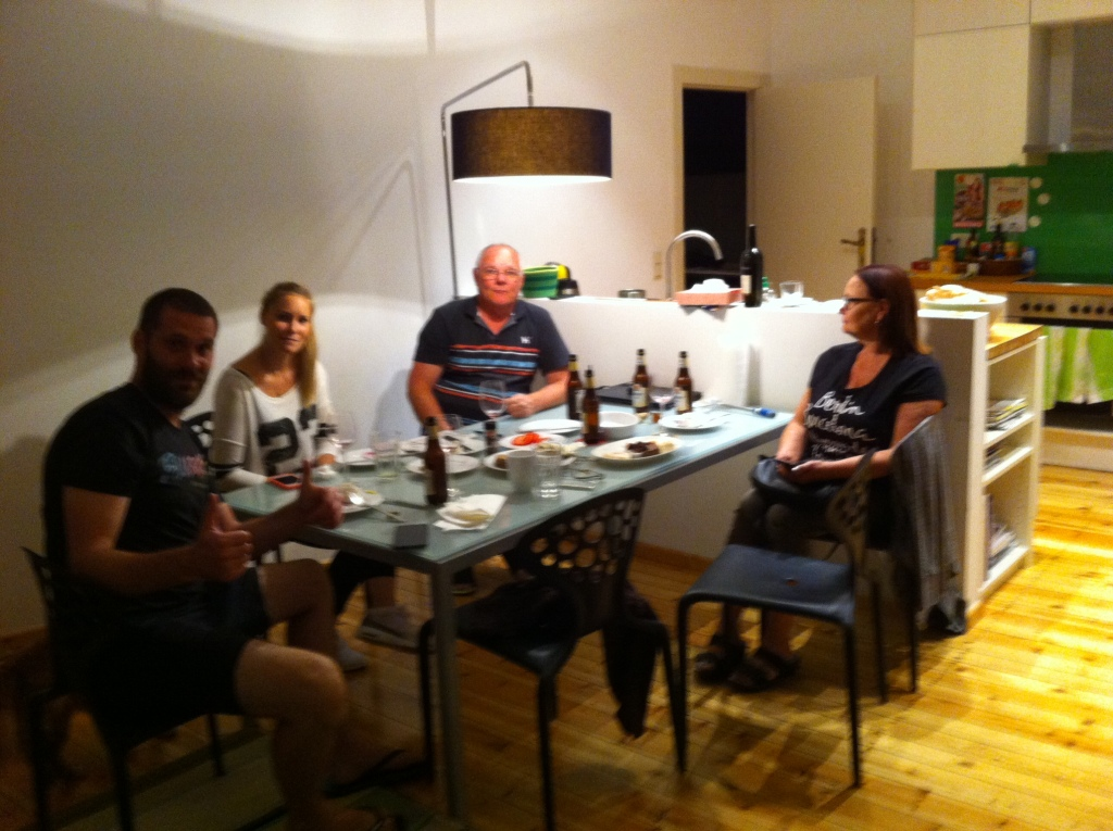 Nadine, Monika and Troy have come for a visit to our apartment on one of our last evenings there.