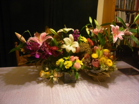 These are some of the flowers that I received for my 80th Birthday in Sept.2014