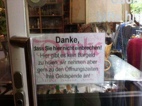 This sign we saw outside a charity shop in Rubensstrasse.